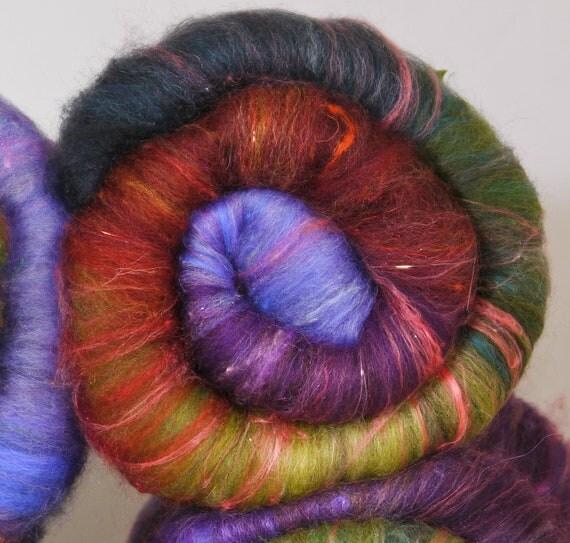 Fiber Batts for spinning and felting - Enchanted Forest  ( 4.15 oz. ) bfl, alpaca, silk, sari silk,  bamboo, silk noil, angelina