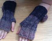 Handspun Chunky Purple Fingerless Hobo Mitts with Woven Flowers