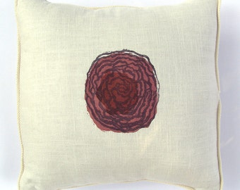 Pillow Cover - Hand Printed Purple Ornamental Cabbage - 16 x 16