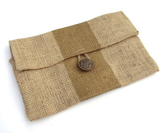 Mini Burlap Clutch with Metallic Gold Stripe and Brown Quatrefoil Liner- SALE- FREE SHIPPING
