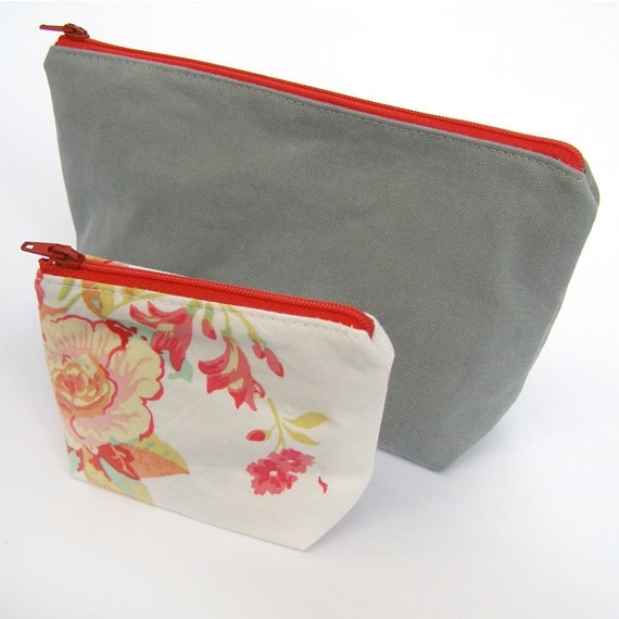 Makeup Bags Set of Two- Gray and Floral- Zippered Bags