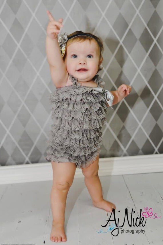 Gray/grey lace petti romper Photography PROP