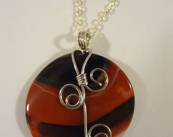 A Slice Of Earth Wire Wrapped Agate Pendant  Stone Pendant   Jewelry  Wire Wrapped
