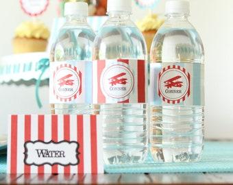Water Bottle labels - Vintage Airplane