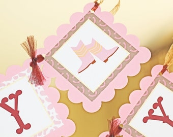 Cowgirl banner, Cowgirl party, Western Birthday banner, Rodeo Banner, birthday banner in pinks and browns