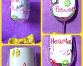 50 Shades of Grey -Hearts and Flowers Large Wine Glass