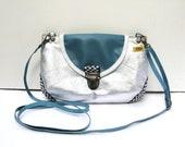 VEGAN Silver Metallic Cotton Canvas Cross Body Shoulder Bag Purse Clutch with Vinyl Teal Blue Flap Adjustable Detachable Strap