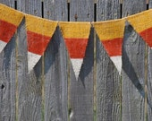 Halloween Banner-Painted Burlap Banner- Candy Corn