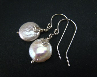 white freshwater pearl coin dangle earrings