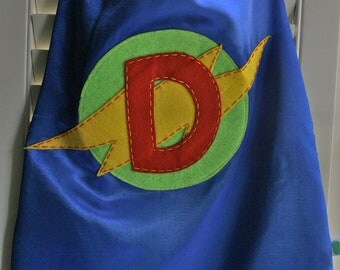 Superhero Costume-PERSONALIZED BLUE Boys Superhero Cape - Choose the Initial - Superhero Birthday Party