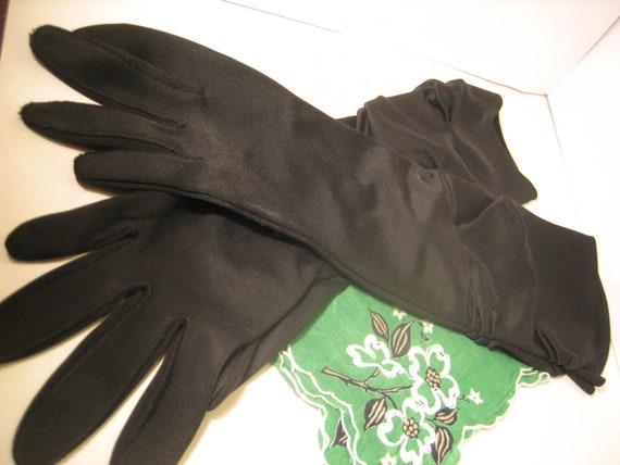 Formal Black Retro Vintage gloves  rouched dressy   3/4 length nylon