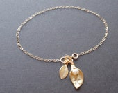 Personalized Initial Cara, Leaf Bracelet - with 14k gold filled chain