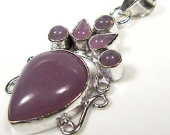 Valentine Gift Idea...Violet Chalcedony Silver Pendant