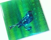 BLUE BIRD- Original Hand-colored Art Tile - in blues and greens- unique gifts under 10