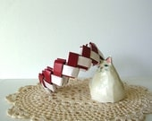 Origami Bracelet - Red White Lock Weave Bangle Bracelet - Origami Jewelry - Paper Jewelry - Team Colors