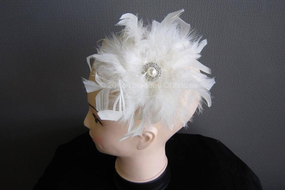 Feather Hairpiece - White Feather Hairpiece - Ivory Feather Hairpiece