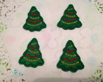 Forest Green  Felt Christmas Tree Applique Set