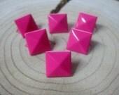 100pc 9mm S1 HOtPINK Square Pyramid Punk Spike Studs Spots Rivet DI Leathercraft