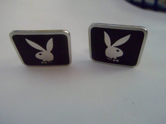 Vintage Black and Silver Playboy Cufflinks
