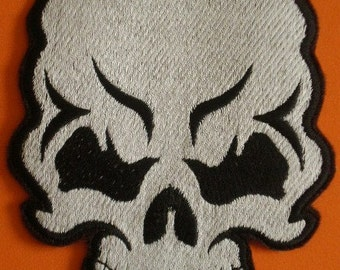 Embroidered Iron On Patch  Skull, Skeleton, Day of the Dead, Halloween, Applique Tattoo Style