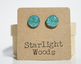 turquoise Blue Glitter Stud Earrings- wood Blue Stud Earrings- Blue sparkle Studs- Starlight Woods
