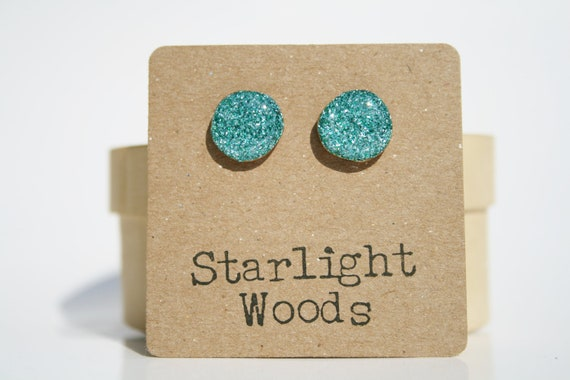 turquoise Blue Glitter Stud Earrings- wood Blue Stud Earrings- Blue sparkle Studs- Starlight Woods