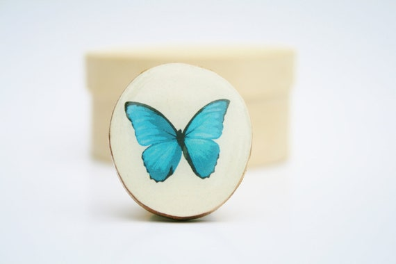 Cocktail Ring Butterfly Olympian blue wood ring wood jewelry nature inspired jewelry for her eco friendly nature gift