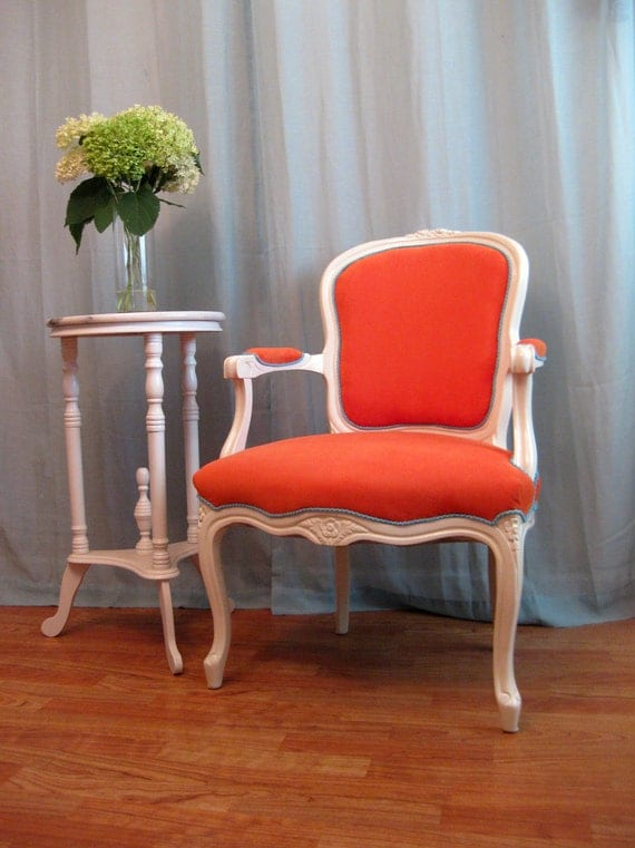 Fresh Quenched Orange and Green Vintage French Louis Bergere Chair Custom Order