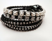 Hurricane Sandy Relief 100% - Trendsetting Team Madcap Team / Charity / Set of 3 bracelets in black / rhinestone pearl ball chain / silver