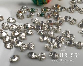 7 x 10mm Oval, 72pcs Clear Crystal, sew on embellishment flatback