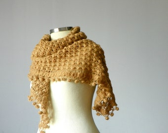 Winter crochet shawl, Everyday Triangle Shawl Mohair - Beige, milk coffe, winter - autumn fashion