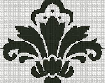 Damask Cross Stitch Pattern 001