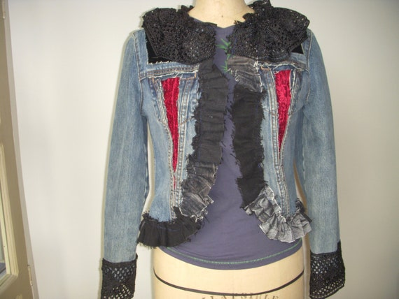 GAP Restyled Denim Jean Jacket Red Velvet Inserts Silk Crochet Black Lace Netting Trim Recycled