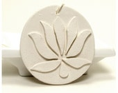 White Lotus Decorative Ornament - Saraswati /  Wall Pendant, Drawer Pull, Zen, Meditation, Yoga, Clay