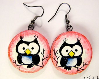 Handmade pink wooden earrings with owls