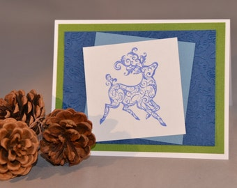 Reindeer in Blue Christmas Card - Handstamped Holiday Card
