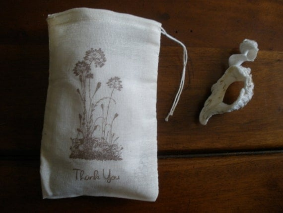 """Wedding Favor Muslin Bags - 25 4x6"""" Hand Stamped Wildflower Thank You"""