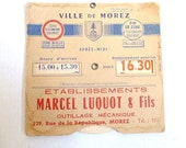 Old paper . Paper ephemera .French antique .Supplies . Parking meter ancestor . Beige. Red . Brown