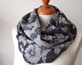 Infinity scarf loop circle floral two sided  blue and grey roses, fall scarf, autumn scarf cowl, roses in winter scarf, handmade scarf