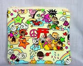 Kawaii Large Zippered Bag Pouch Cosmetic Bag Makeup Pouch Japanese Anime Cotton Fabric Cream Yellow In Stock