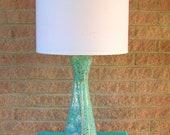 Teal Blue Gold White Mid Century Modern Ceramic Lamp Danish Modern Eames Era