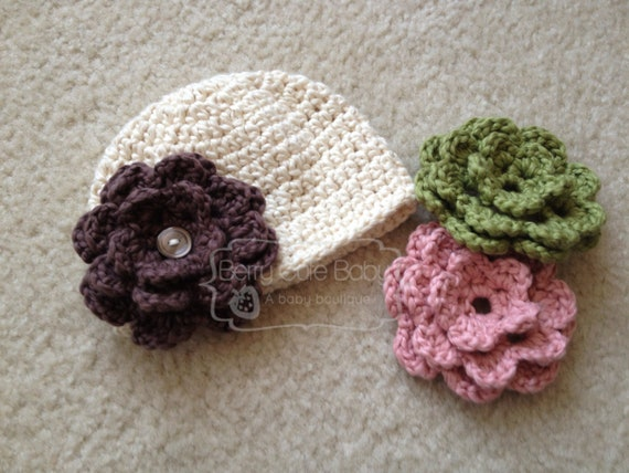 Button Beanie with Interchangeable Flowers, Organic Cotton, Sizes NB-12M