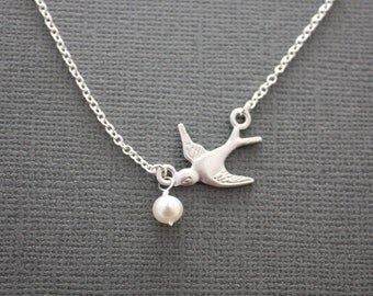 Flight- bird and freshwater pearl necklace, gift, sterling silver, chic, casual, modern