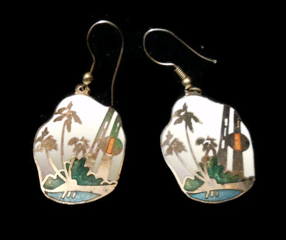 Vintage 1960's enamel deco earrings 'At the Oasis' gold over silver