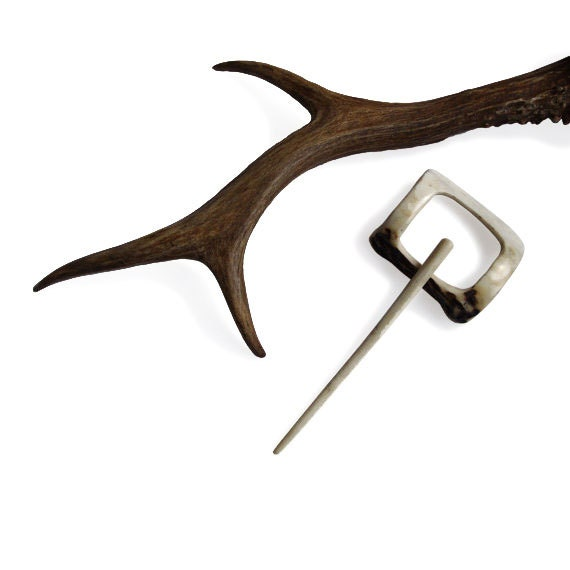 """Shawl Pin Hair Slide """"3 in 1"""" Generous Deer Hair Fork Barrette,Scarf pin, Hair slider Barrette ,Deer Antler,Tribal,MariyaArts"""