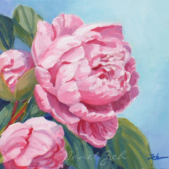 oil painting pink flower - photo #13