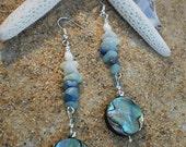 Abalone Shell, Amazonite & Lapis Lazuli Drop Earrings