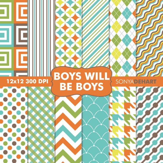 80% OFF Sale Digital Paper Boys Will Be Boys Background Patterns