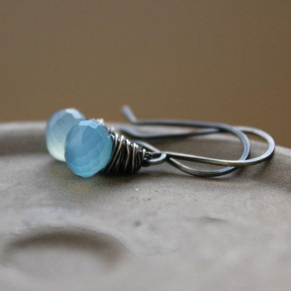 "Blue chalcedony wire wrapped sterling oxidized earrings drop earrings--""Sail"""