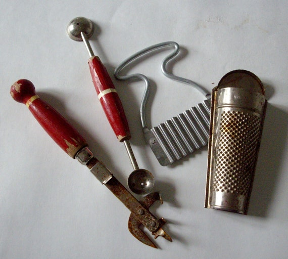 Vintage Kitchen Gadgets Chippy Red Rusty Set Of 4